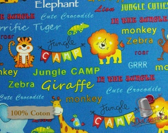 Jungle animal, Jungle Camp, 3865, Studio E, multiple quantity cut in 1 piece, 100% Cotton