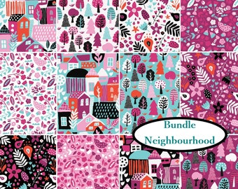"12 prints, Bundle, Neighbourhood, Camelot Fabrics, 12 FE = 9""X22"", 12 FQ, 12X 1/4 yard, 12 X 1/2 yard, etc., 1 of each print,"