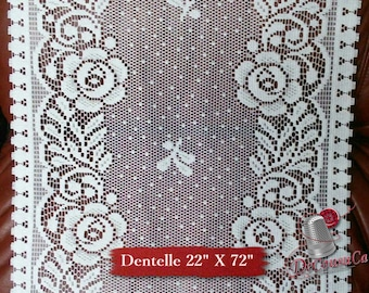"Lace for door, WHITE, 17 ""X 72"" (44cm X 180cm), NOT FABRICATED, polyester, washable, decorative, (Reg 22.49)"