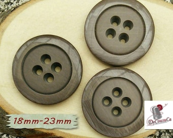 3 Buttons, 18mm, 23mm, brown, 4 holes, decorative, Vintage, GR10