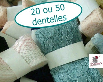 Lace, Guipure, SURPRISE, simple, pleated, decorative, colors and widths, 20 or 50 differents lace
