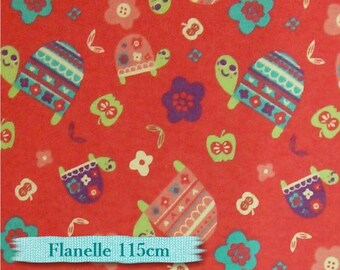 "Fat quarter, 18""X22"" = 45cm X 55cm, Flannel, Turtle, Camelot,"