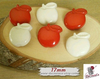 6 buttons, 17mm, Red, Apple, BF09, (Reg 3.60)