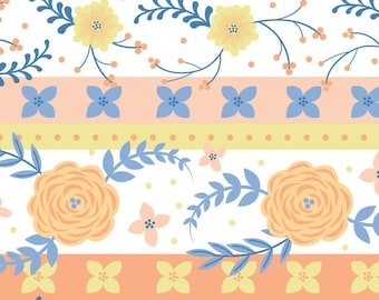 Strip, Flowers, orange, blue, Do what you love, 2241502, col 01, Camelot Fabrics, cotton, cotton quilt, cotton designer
