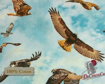 Eagle, hawk, blue, 451, American Wildlife, Blue Background, Elizabeth's Studio, 100% Cotton, (Reg 2.99-17.99)