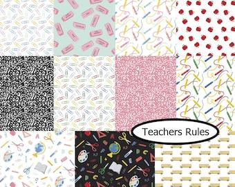 Bundle, 11 prints, Teachers Rules, Camelot Fabrics, 100% cotton