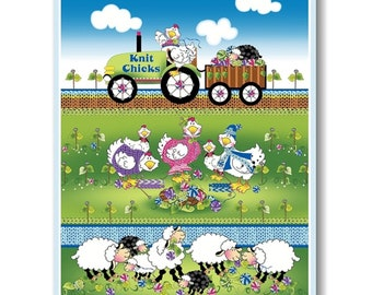 "Panel, Sheep, hen, tractor, 36 ""X 44"", (90cm x 110cm), Knit Chicks, 1454P-61, Henry Glass, 100% Cotton"