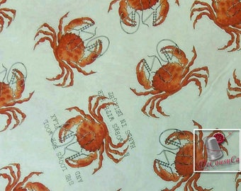 Crab, Handmaids, Quilting Treasures, fat quarter, by the yard, by the mètre, cotton, (Reg 2.99-17.99)