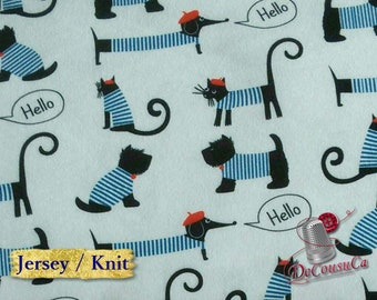 COUPON, Poly / spandex jersey, knit, 95 polyester, 5 spandex, stretch fabric, garment fabric, 58/60 wide, dog, white, (Reg 7.07-22.05)