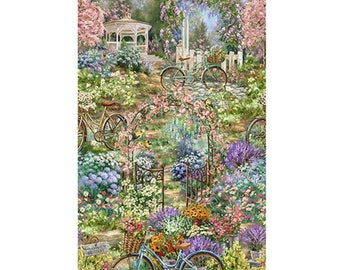 Bike, Garden Sanctuary, 4832, Timeless Treasures, 100% Cotton, (Reg 13.15)