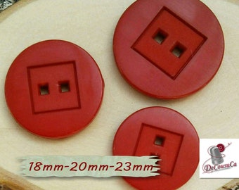 3 Buttons, 18mm, 20mm,  23mm, rubis, red, 2 holes, decorative, Vintage, GR10