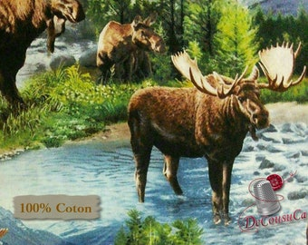 Moose, Springs Creative, Lake Massepequa, CP62287, multiple quantity cut in one piece, 100% Cotton, (Reg 2.99-17.99)