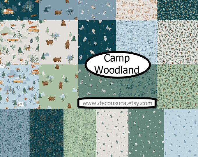Featured listing image: Bundle of 21 prints, camping, bear, fir, Camp Woodland of Riley Blake