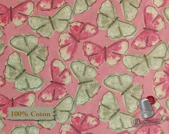 Butterfly, gray, pink, Paris Romantique, multiple quantity cut in one piece, 100% Cotton
