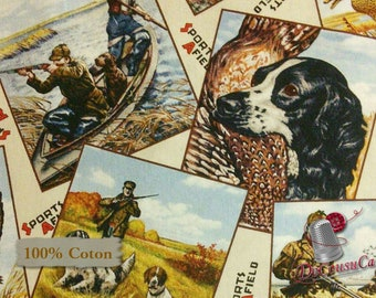 Hunting dog, duck, pheasant, 8402, Sport Afield, Elizabeth's Studio, 100% Cotton, (Reg 2.99-17.99)