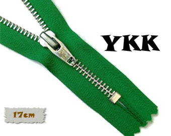 YKK, 17cm, Green, Zipper, Cursor V, 6 Inch, Metal, Zipper, Non-Detachable, vintage, 1980, Z16