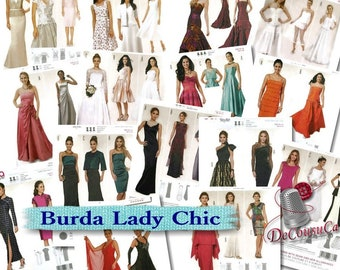 7 models, Burda, Dress chic, 6-24, new, uncut, (Reg 6.99-14.99)