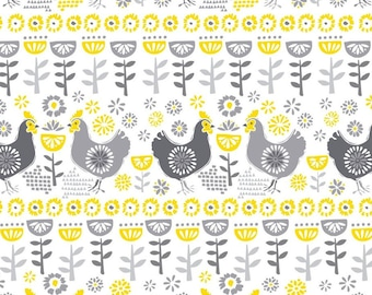 Little roosters, grey, yellow, white, Village Life, 30180105, Camelot Fabrics, 100% Cotton
