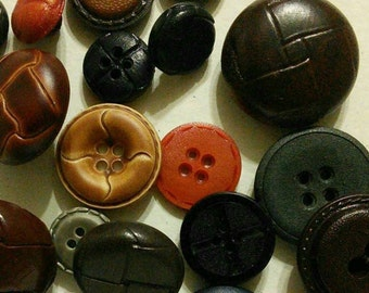 50 buttons leather, colors various, different sizes, photo example, BA102