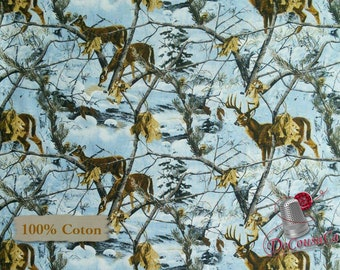 Deer, snow, blue, 10082, Sykel Enterprises, Realtree, multiple quantity cut in one piece, 100% Cotton, (Reg 2.99-17.99)