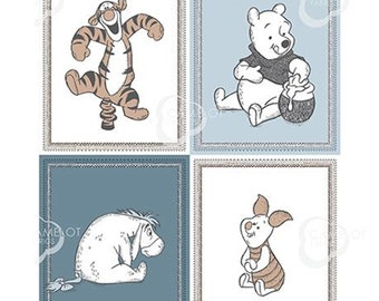 "Disney, Panel, 4 prints, 36"" X 44"", (90cm x 110cm), Winnie the Pooh, 85430111P, Camelot Fabrics, 100% Cotton"