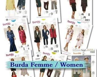 Burda, Women, 8-22, suit, jacket, pantsuit, t-shirt, new, uncut
