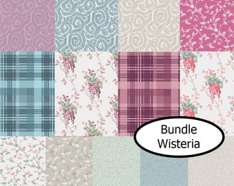 Bundle, 13 prints, Wisteria, leaf, flower, Camelot Fabrics