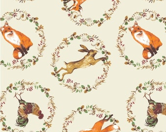 Fox, cop, hare, ecru background, Fables, Laura Ashley, 71180405, Camelot Fabrics, cotton, cotton quilt, cotton designer