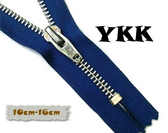 YKK, 10cm, 16cm, Dark blue, Zipper, Cursor V, 4-6 1/4 Inch, Metal, Zipper, Non-Detachable, vintage, 1980, Z16
