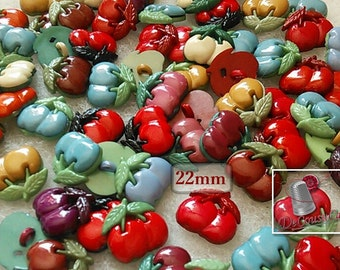 25 Cherry buttons, 22mm, Mixed Colour Acrylic, 1-Hole Cherry Shank Buttons, vintage, BF19