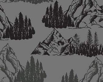 Mountains Pine Trees, Gray, Timberland, 10331, Riley Blake, cotton quilt, cotton designer, (Reg 3.76-21.91)