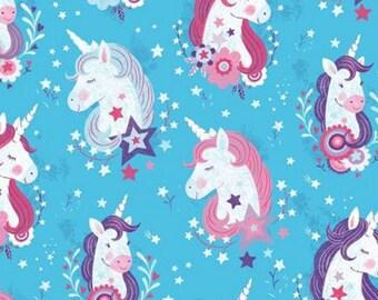 Unicorn, aqua, Unicorn Kisses, 4052, multiple quantity cut in 1 piece, 100% Cotton