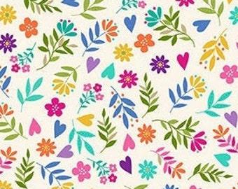 Flowers, white, rainbow, Katie's Cat, 2351 Q, Makower, cotton, cotton quilt, cotton designer