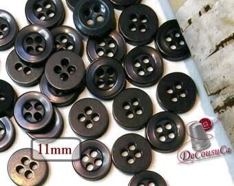 12 Buttons, 11mm, black, reflet blue, 4 holes, plastic, résin, BA52