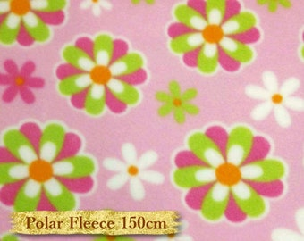 Camelot Fabrics, 21614, col 3, Polar Fleece, Flower, pink, 150cm, anti-pilling, multiple quantity it will be delivered in one piece