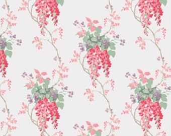 Flower , cranberry, ivory, Wisteria, Laura Ashley, 71170701, col 01, Camelot Fabrics, 100% Cotton