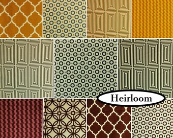 11 FQ, or 11 X 1/4 yard, or 11 X 1/2 yard, 1 of each, Heirloom, Camelot Fabrics, cotton