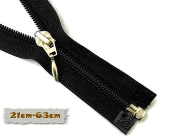 SEPARABLE, BLACK, 21cm, 22cm, 28cm, 33cm, 60cm, 63cm, Zipper, slider 7A, clothes, ZG3, (Reg 3.10-7.30)