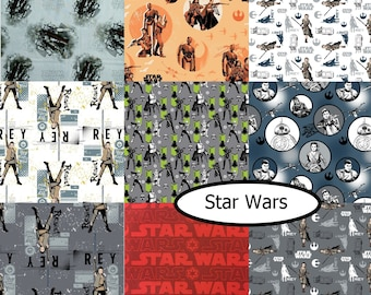 Bundle, 9  designs, Star Wars, Camelot Fabrics, 1 of each, 100% cotton