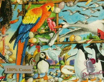 Exotic Birds, 7006, Elizabeth's Studio, multiple quantity cut in one piece, 100% Cotton, (Reg 2.99-17.99)