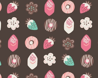 Petits Fours in Chocolate, Ginger Bread, 42170104, col 1, Camelot Fabrics, 100% Cotton