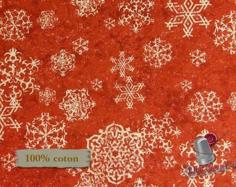 Red, Sheltering Snowman, by Barb Tourtillotte, Henry Glass & Co, multiple quantity cut in one piece, 100% Cotton,