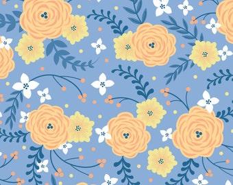 Flowers, orange, blue, Do what you love, 2241501, 02, Camelot Fabrics, cotton, cotton quilt, cotton designer