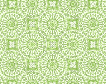 Mandalas, lime, Boho Happy, Patrick Lose, 100% Cotton