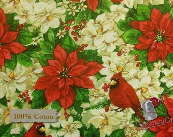END OF BOLT, Poinsettia, Cardinal rouge, Édition Fabric, multiple quantity cut in one piece, 100% Cotton