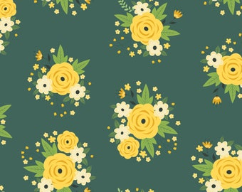 Bright Side, flower, 2240901, col 03, Camelot Fabrics, multiple quantity cut in 1 piece, Cotton