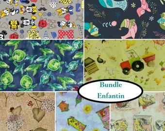 """7 Fats quarters, 1 of each, Enfantin, 100% cotton, FQ 18""""X22"""" = 45cm X 55cm"""