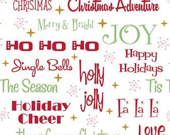 Christmas Adventure, Riley Blake Designs, Christmas fabric 100% cotton, #10731 WHITE