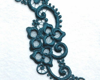 Applied, lace, teal, 3 inches x 8 3/4 inches, polyester, vintage,