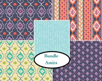 Bundle, 5 prints, Amira, Camelot Fabrics, 100% Cotton, quilt cotton